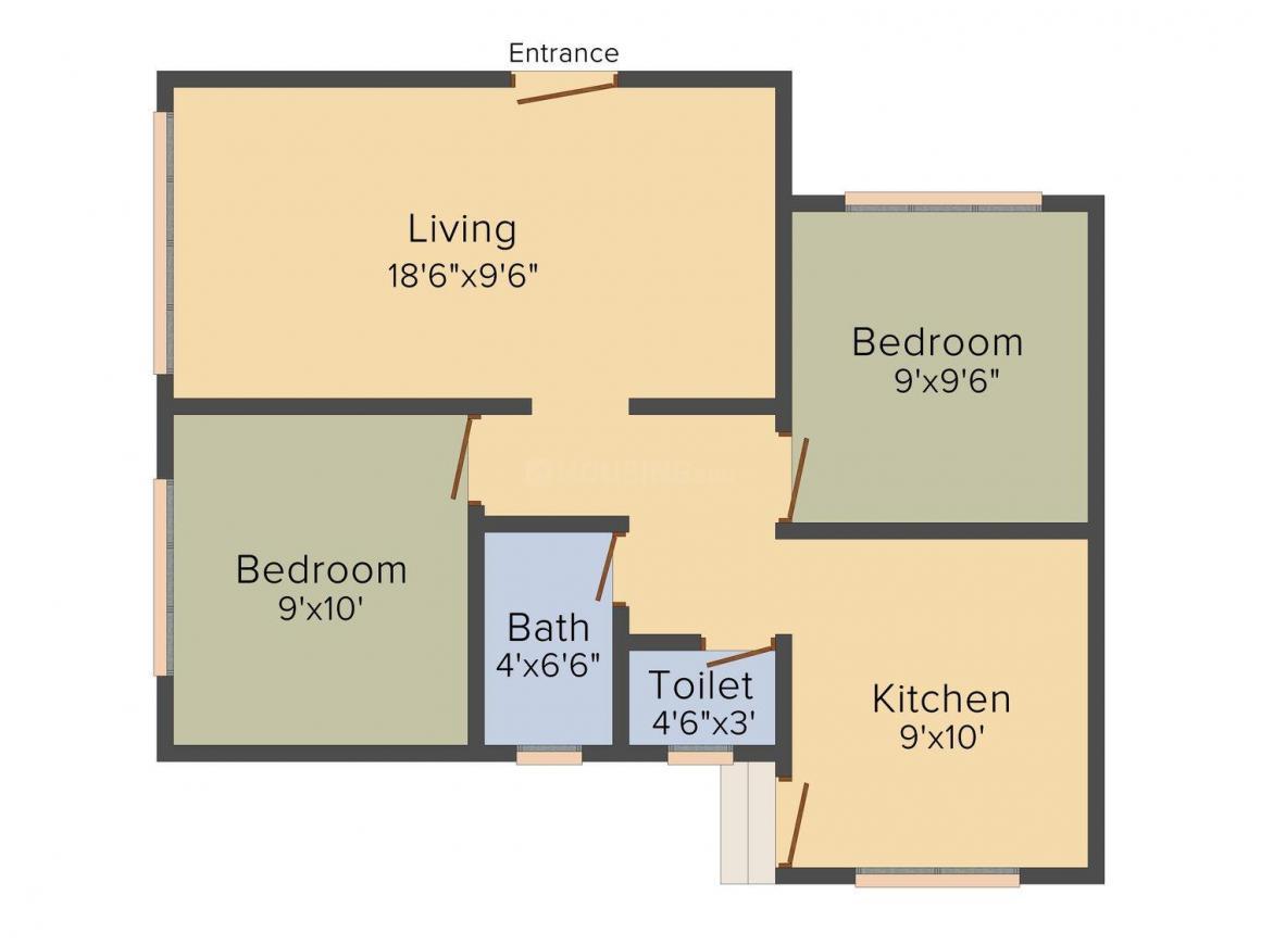 Aditya Krishna Apartment Floor Plan: 2 BHK Unit with Built up area of 580 sq.ft 1