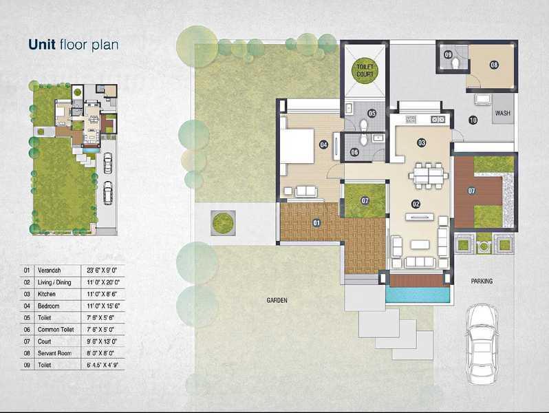 Dev Aadi 14 Floor Plan: 1 BHK Unit with Built up area of 1350 sq.ft 1