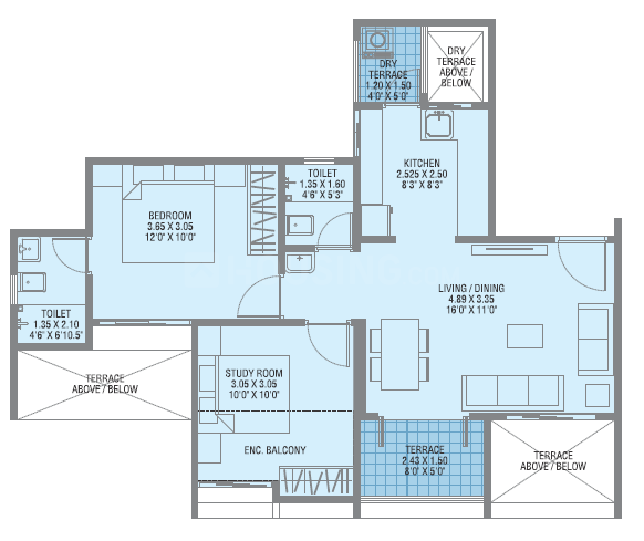 Adiamville Floor Plan: 2 BHK Unit with Built up area of 569 sq.ft 1