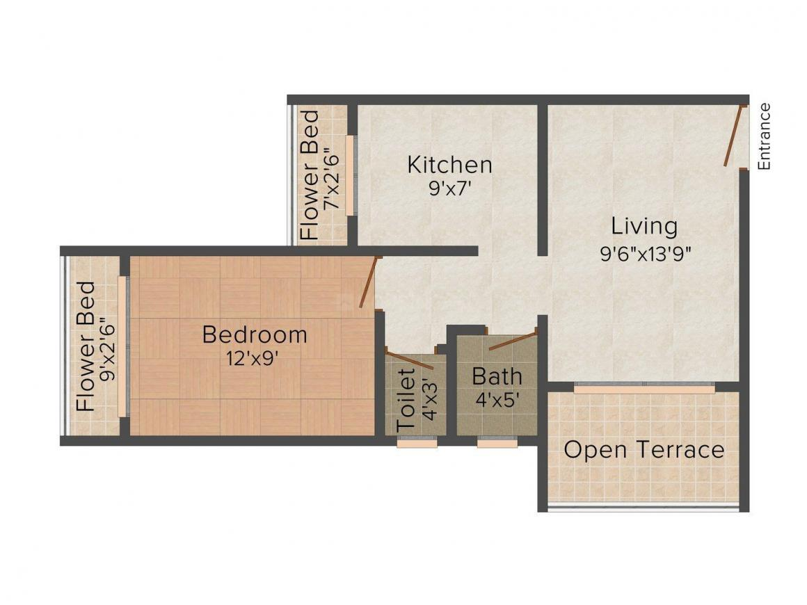 Floor Plan Image of 623 - 1065 Sq.ft 1 BHK Apartment for buy in Shelter 99 Shivganga Apartment