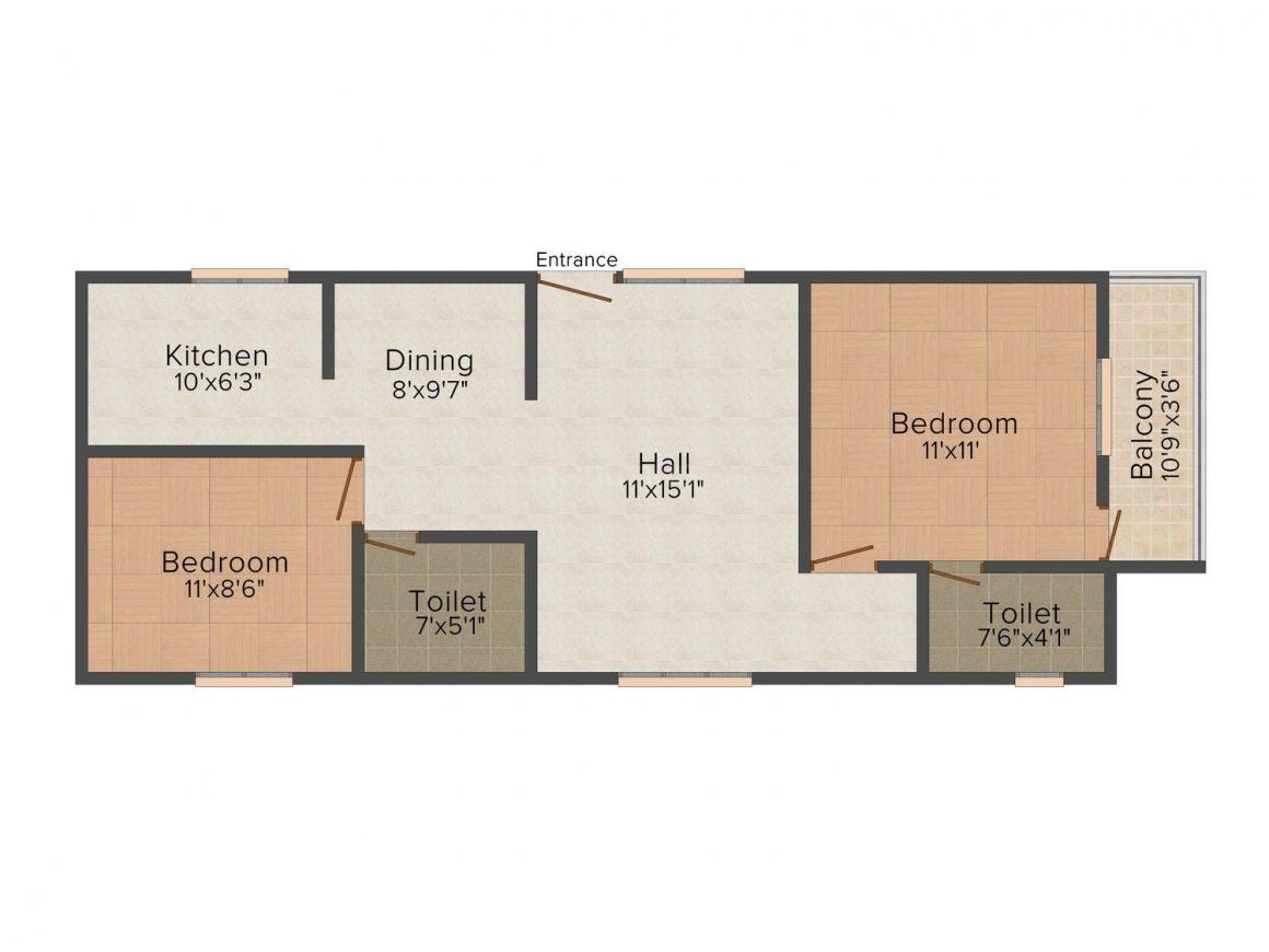 Floor Plan Image of 0 - 1035.0 Sq.ft 2 BHK Apartment for buy in ARRR's Pavithram