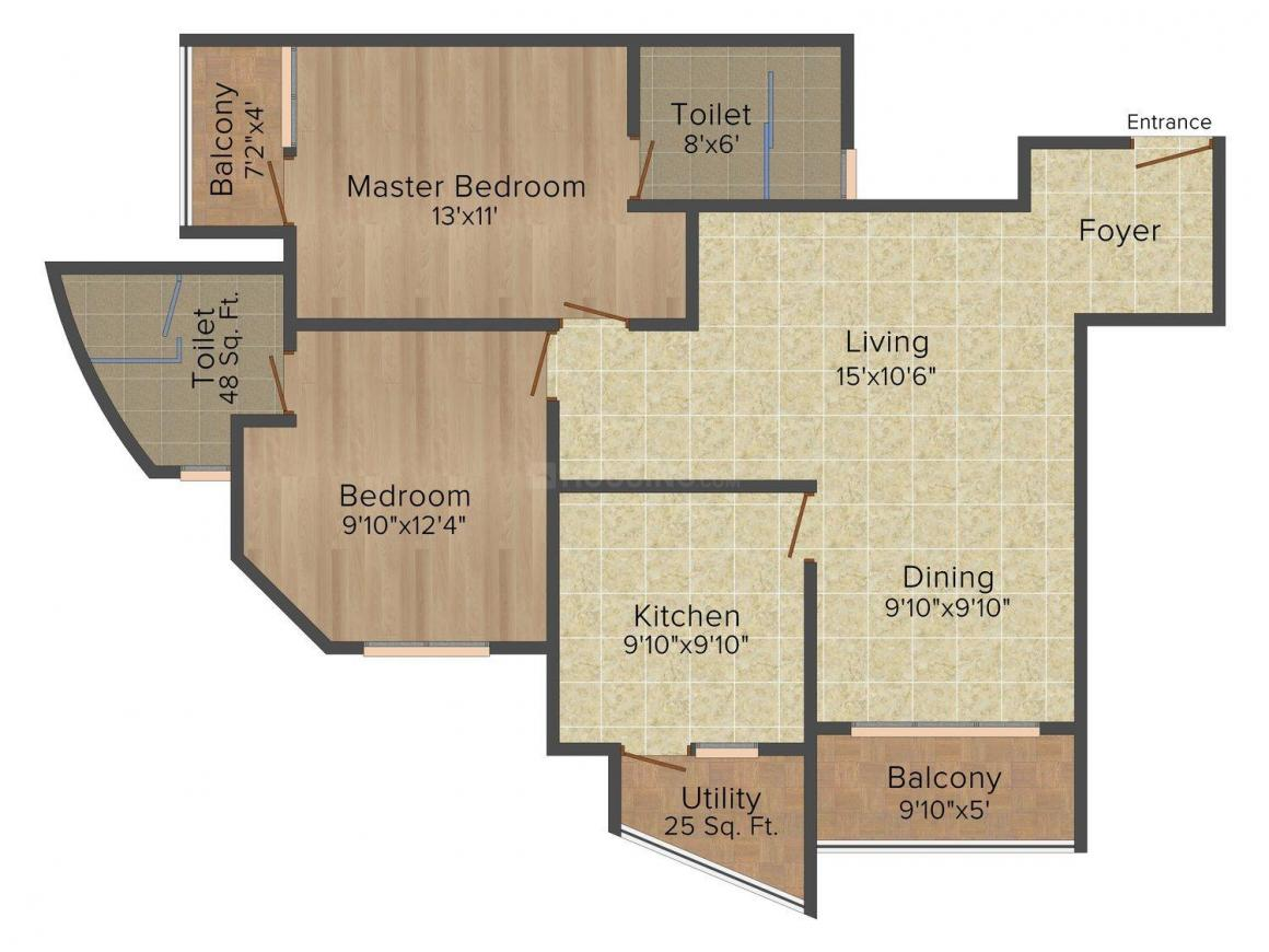 Amrapali Cosmos Floor Plan: 2 BHK Unit with Built up area of 1260 sq.ft 1