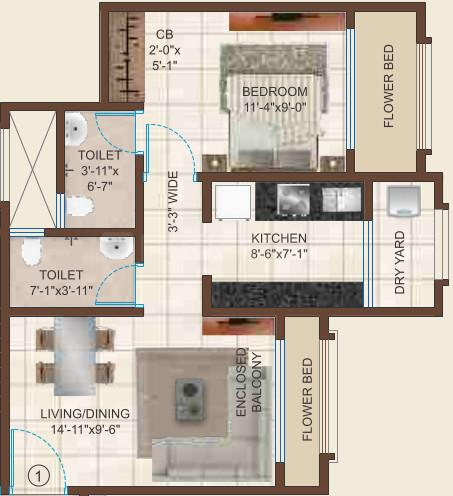 Raj Heritage 1 Floor Plan: 1 BHK Unit with Built up area of 432 sq.ft 1
