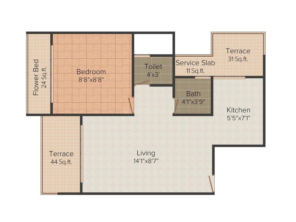 Sai Shrishti Sai Crystal Floor Plan: 1 BHK Unit with Built up area of 576 sq.ft 1