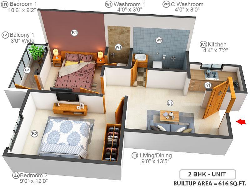 Jai Hanuman Riverside Floor Plan: 2 BHK Unit with Built up area of 616 sq.ft 1