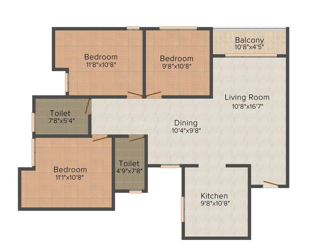 Floor Plan Image of 954 - 1561 Sq.ft 2 BHK Apartment for buy in SFS Gateway Avon