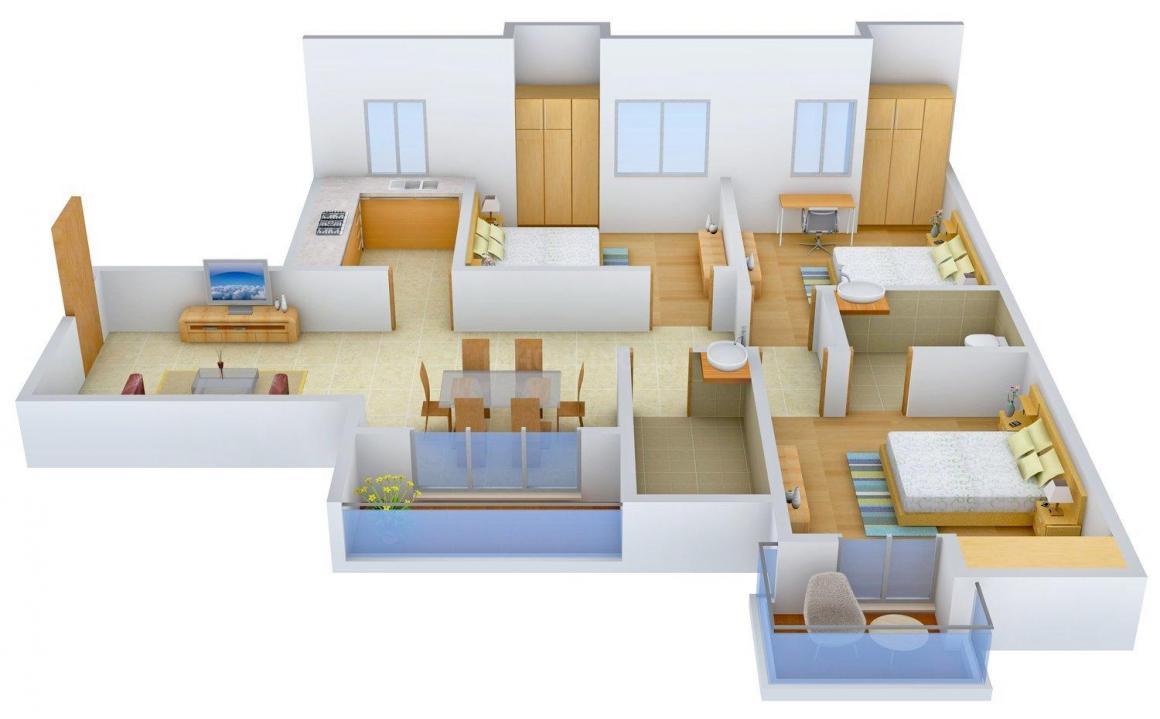 Floor Plan Image of 1008 - 1695 Sq.ft 2 BHK Apartment for buy in Unimark Riviera