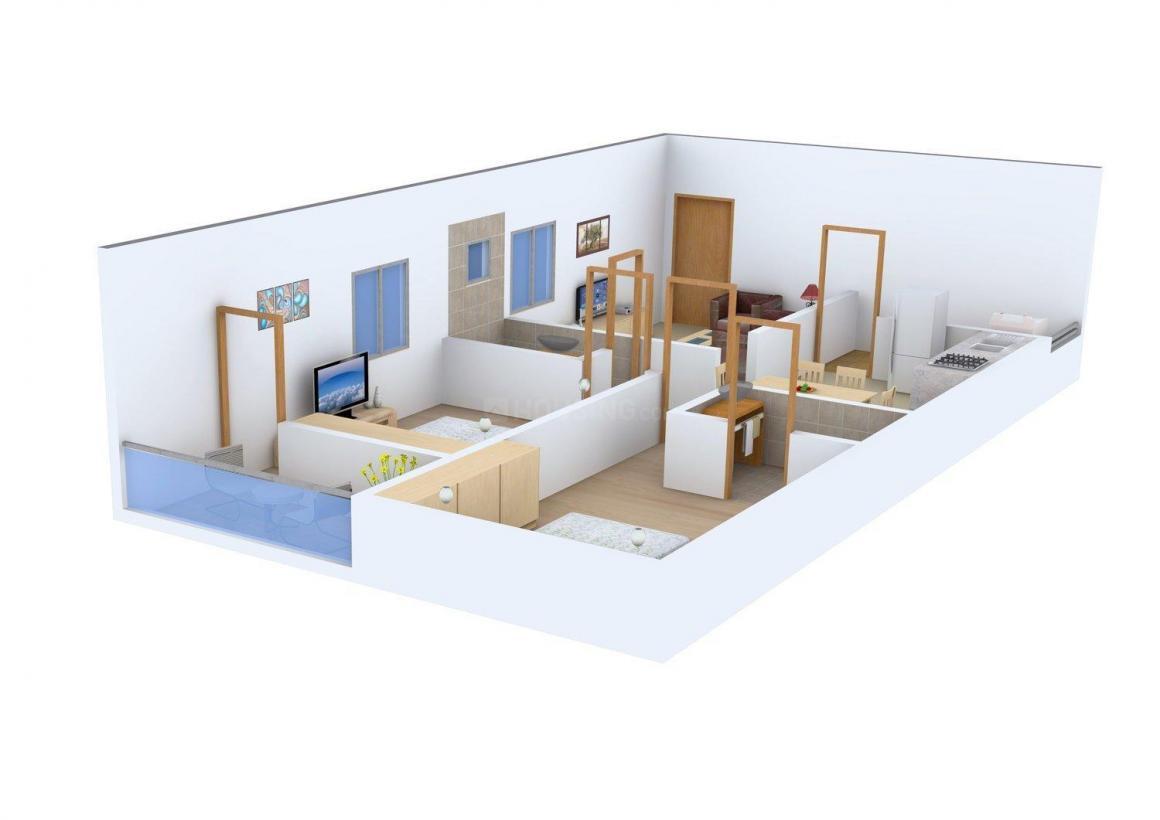 Krupa Lake Ridge Floor Plan: 2 BHK Unit with Built up area of 1110 sq.ft 1