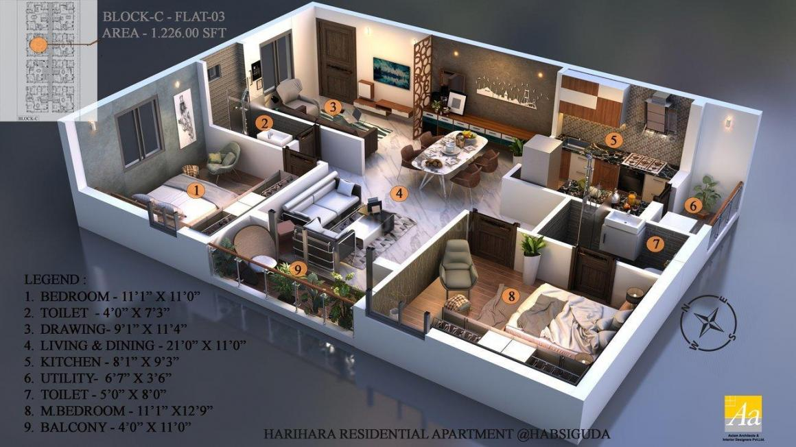 Sri Sai Soukya Floor Plan: 2 BHK Unit with Built up area of 1226 sq.ft 1