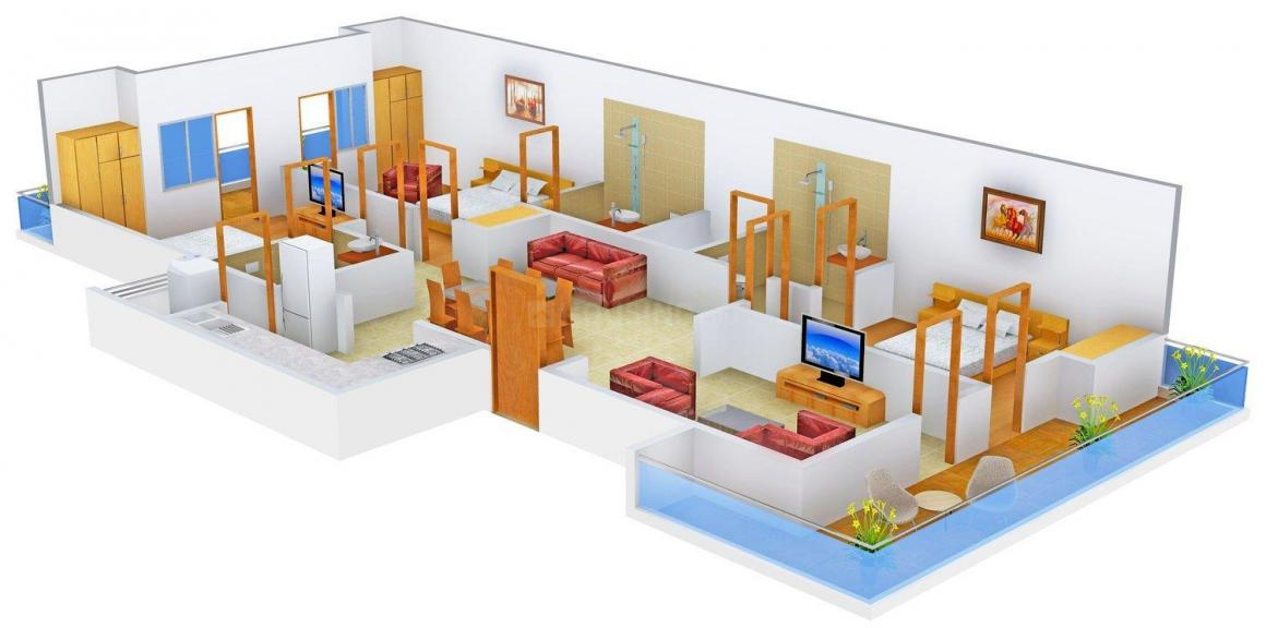 Lord Sai Homes - 5 Floor Plan: 3 BHK Unit with Built up area of 1500 sq.ft 1