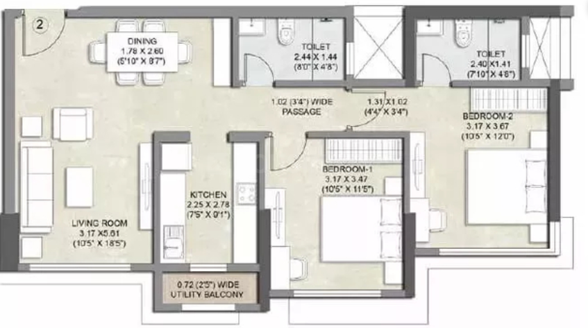 Kalpataru Bliss Apartments Floor Plan: 2 BHK Unit with Built up area of 726 sq.ft 2