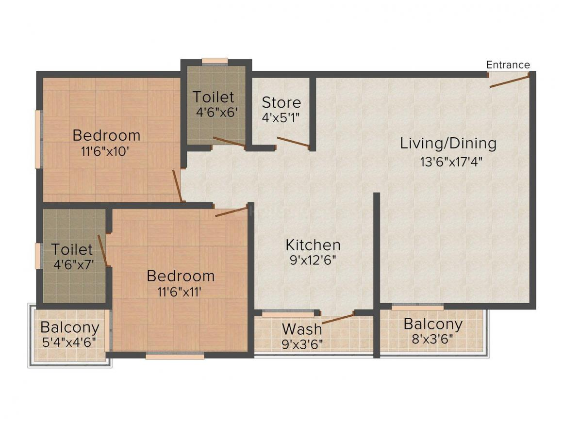 Floor Plan Image of 1176.0 - 1526.0 Sq.ft 2 BHK Apartment for buy in Earth Lilac Vatika