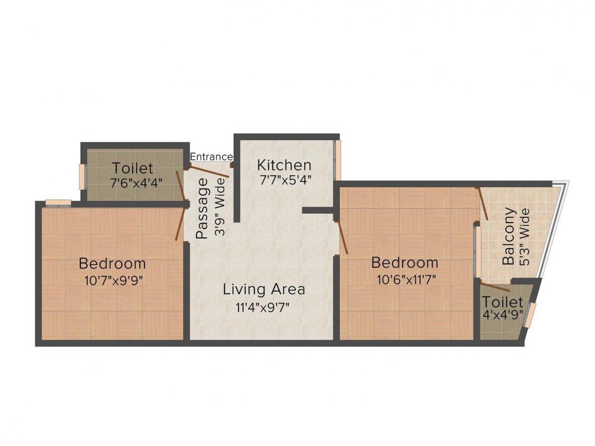 Floor Plan Image of 495.0 - 693.0 Sq.ft 2 BHK Independent Floor for buy in MR Homes II