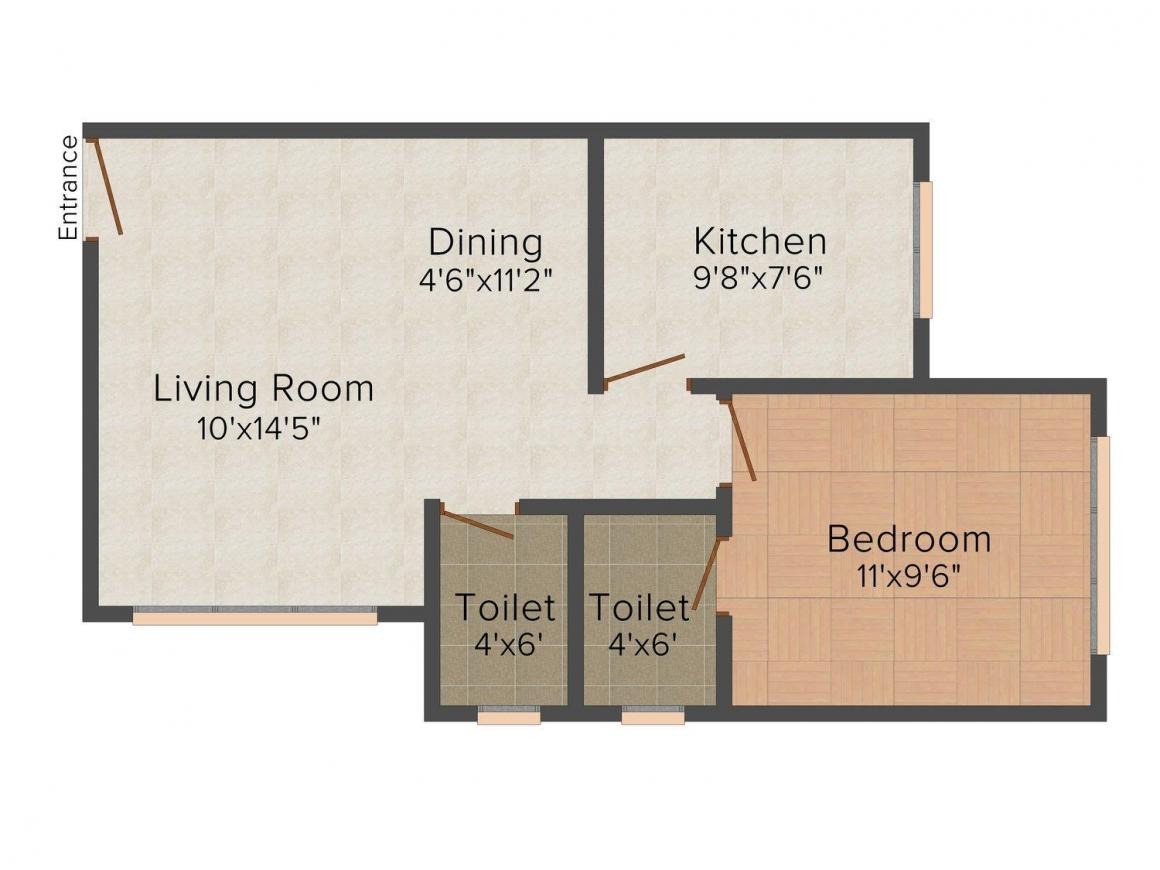 Friends Lucky Laxmi Floor Plan: 1 BHK Unit with Built up area of 441 sq.ft 1