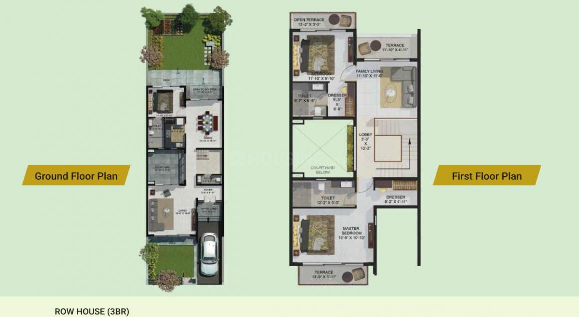 Merlin Aquaville Floor Plan: 3 BHK Unit with Built up area of 1861 sq.ft 1