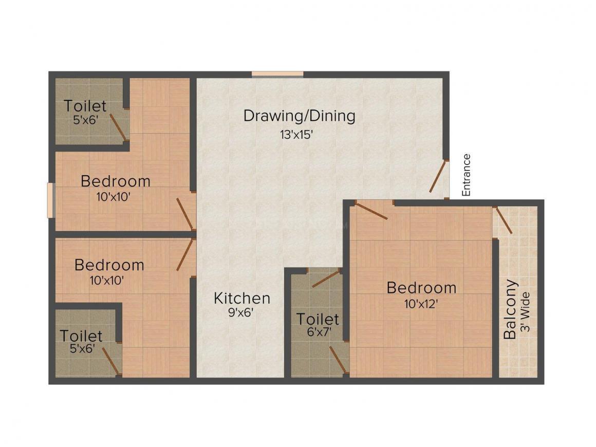 Tirumalla Apt - 3 Floor Plan: 3 BHK Unit with Built up area of 1300 sq.ft 1