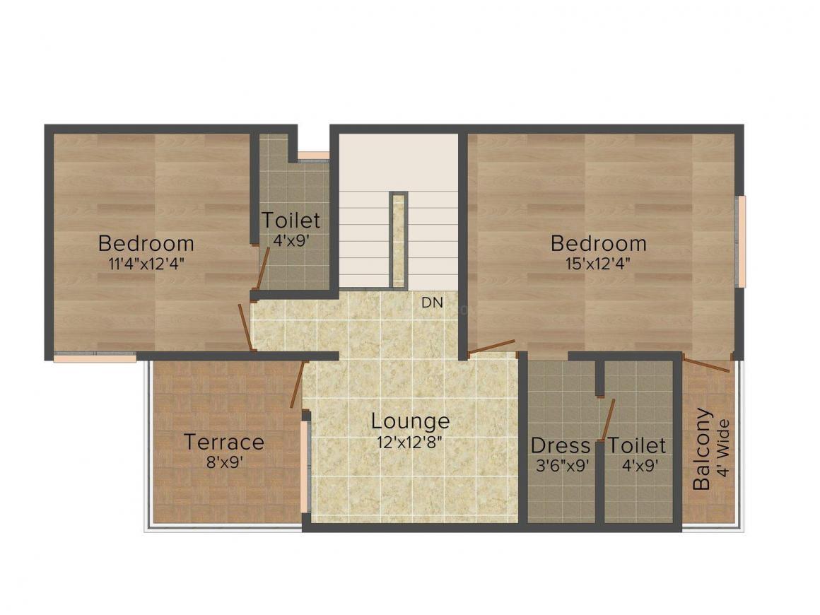 Floor Plan Image of 0 - 1270 Sq.ft 3 BHK Villa for buy in Dwarkadheesh Haveli Dwarka Dham Society