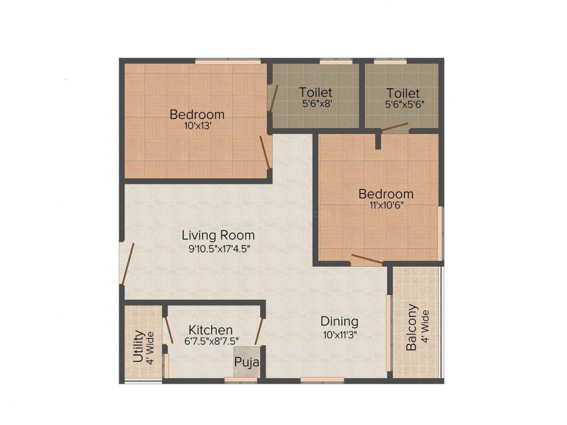Floor Plan Image of 1028.0 - 1169.0 Sq.ft 2 BHK Apartment for buy in Imperial Fortune Hill View