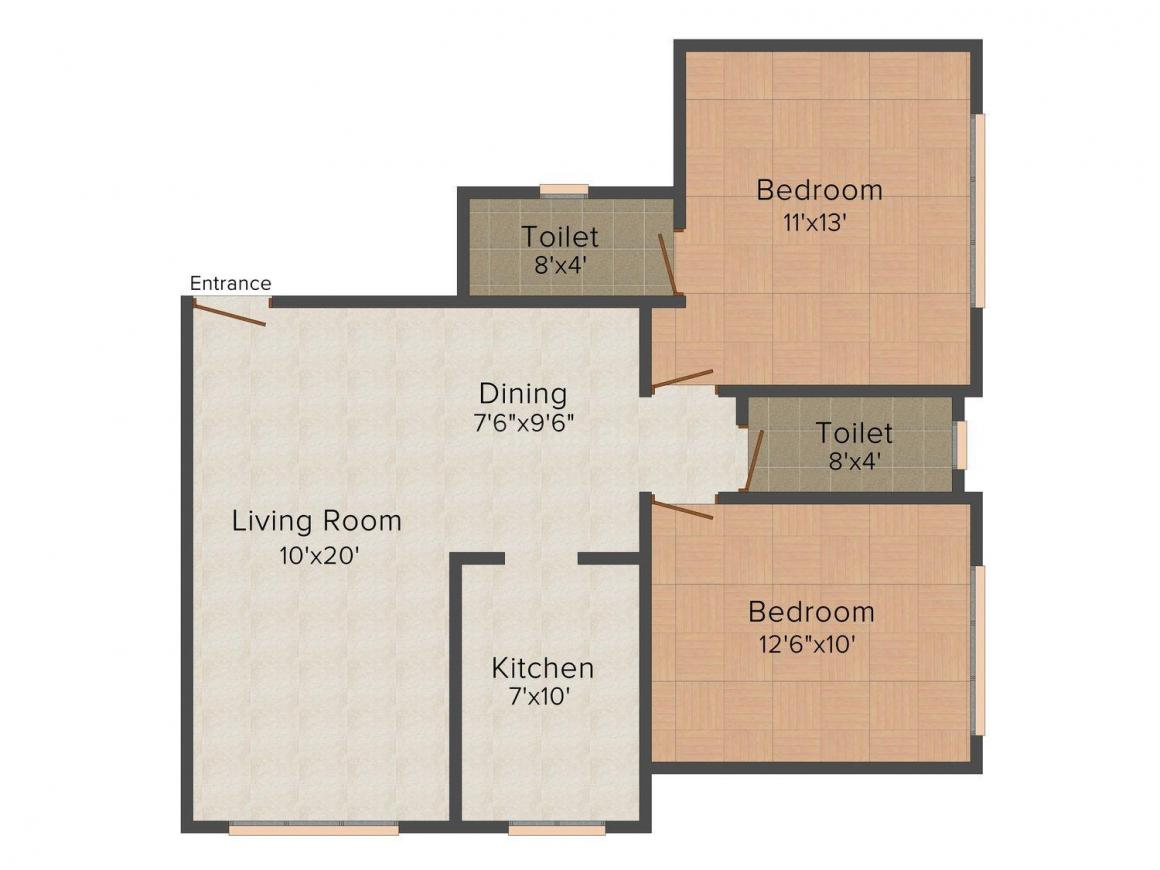 Sidhivinayak Residency Floor Plan: 2 BHK Unit with Built up area of 700 sq.ft 1