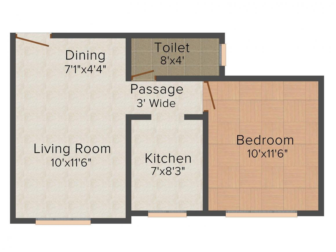 Flintstone Swapna Purti Floor Plan: 1 BHK Unit with Built up area of 603 sq.ft 1