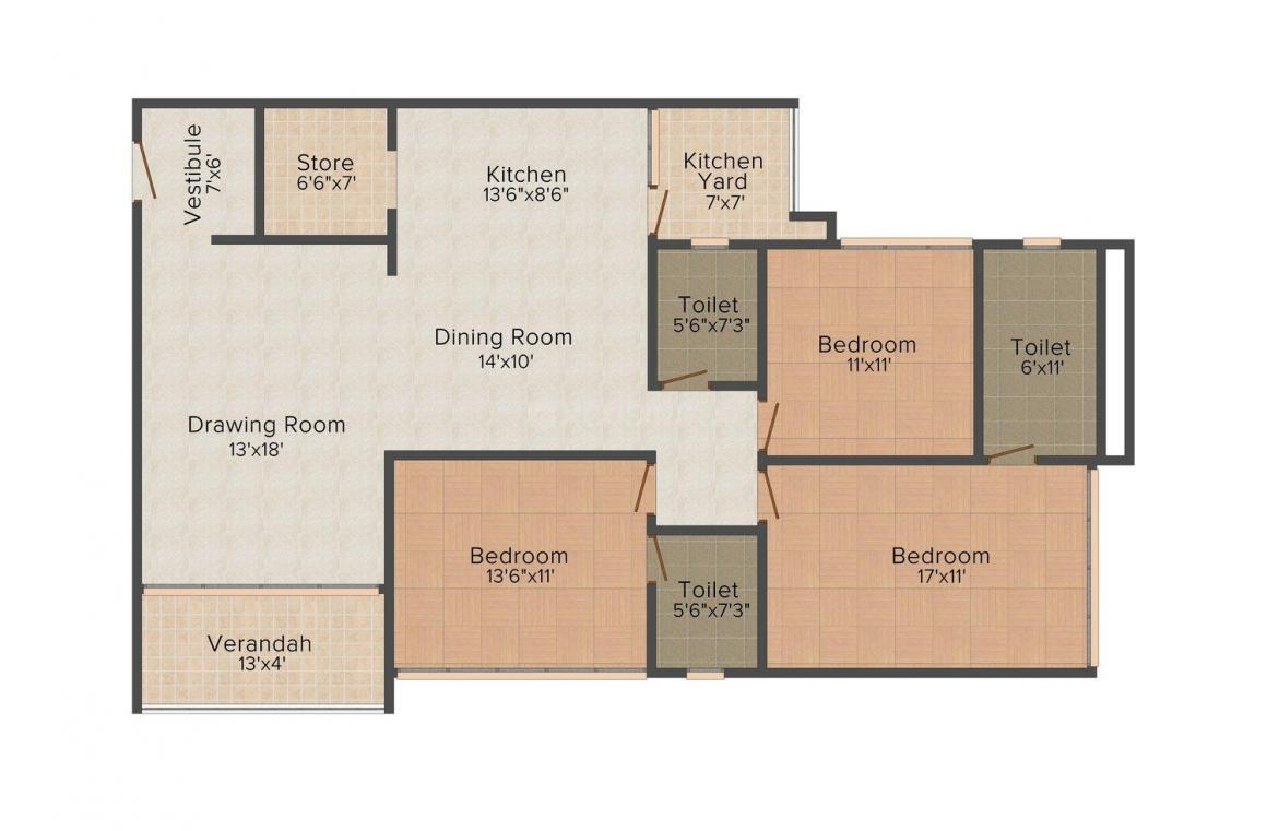 Floor Plan Image of 0 - 2400 Sq.ft 3 BHK Apartment for buy in Himalaya Calista