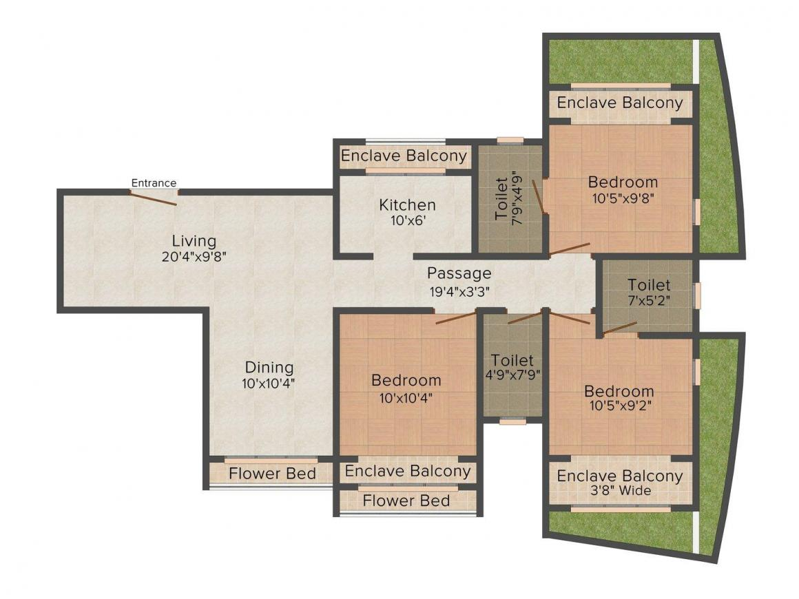Floor Plan Image of 1300.0 - 1750.0 Sq.ft 2 BHK Apartment for buy in Lashkaria Green Height