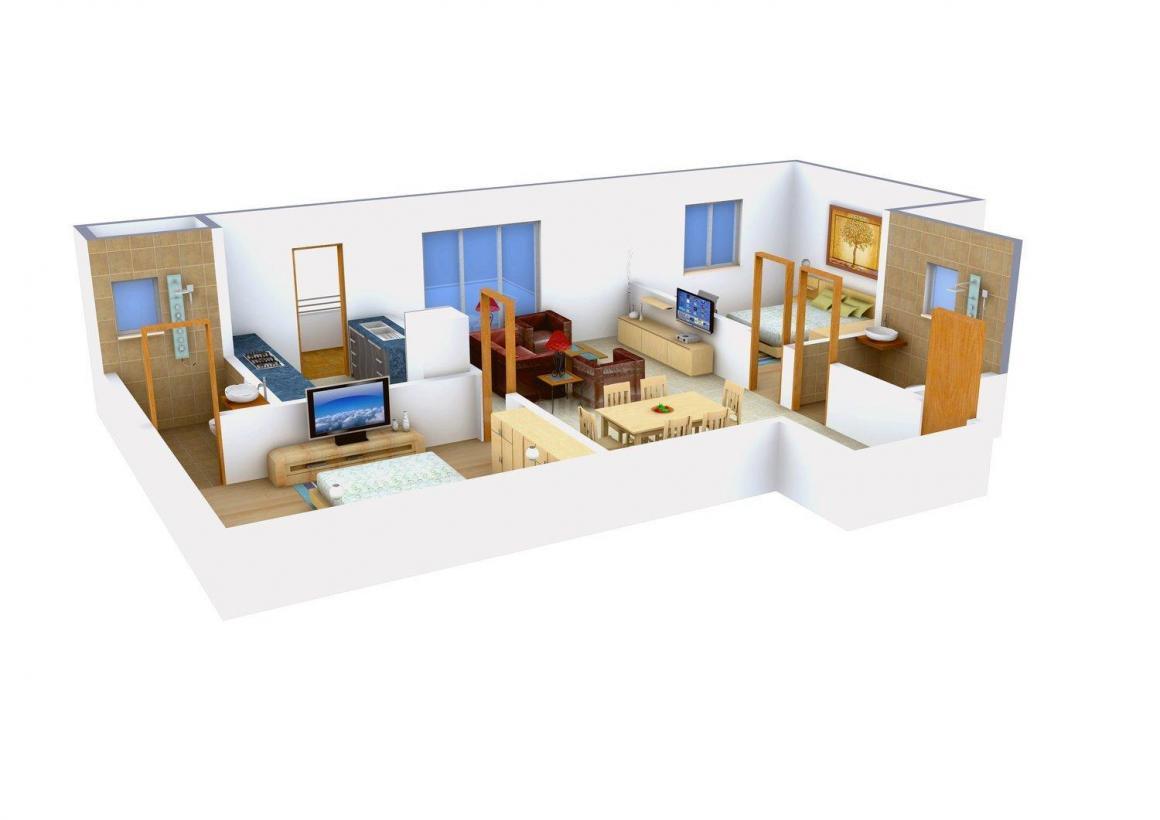 Floor Plan Image of 1100.0 - 1468.0 Sq.ft 2 BHK Apartment for buy in Arya Hamsa