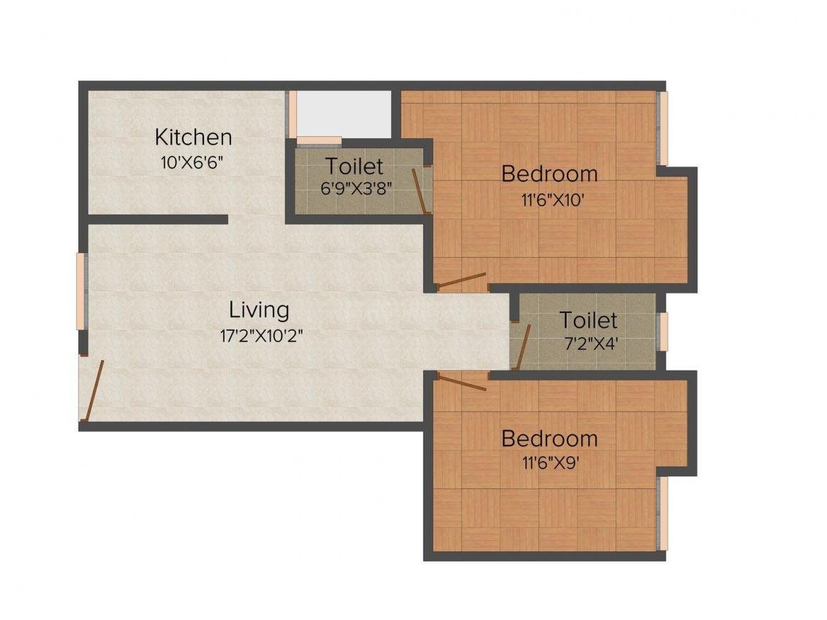 Floor Plan Image of 625.0 - 918.0 Sq.ft 2 BHK Apartment for buy in Nakshatara Sai Icon