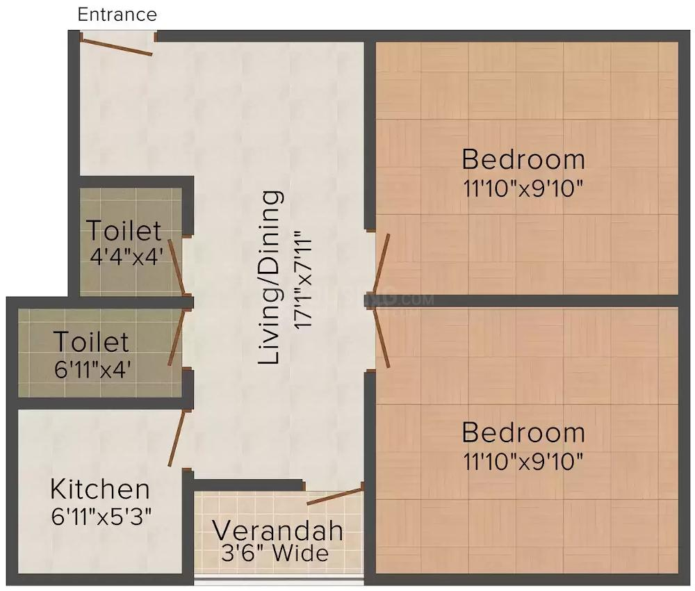 Loknath Developers Akash Ganga Floor Plan: 2 BHK Unit with Built up area of 800 sq.ft 1
