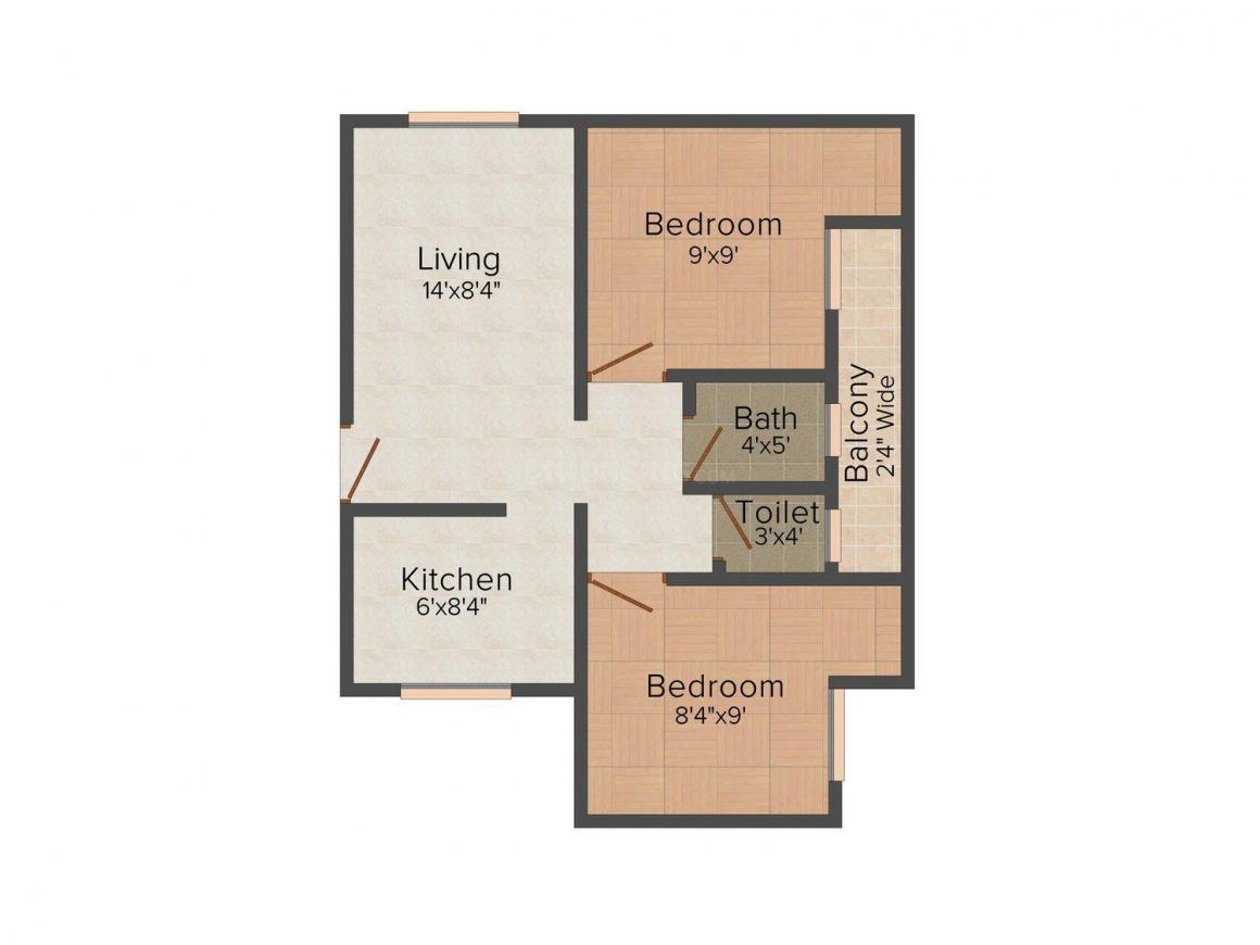 Floor Plan Image of 0 - 540.0 Sq.ft 2 BHK Independent Floor for buy in Mahadeva Homes - I