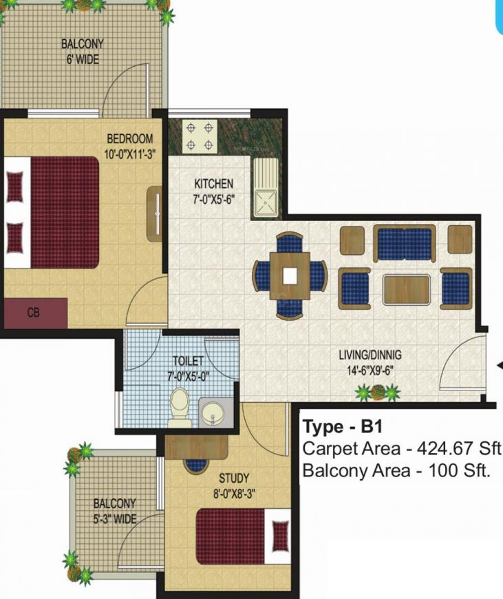 Agrasain Aagman Floor Plan: 1 BHK Unit with Built up area of 425 sq.ft 1
