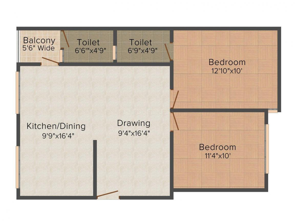 Floor Plan Image of 714.0 - 898.0 Sq.ft 2 BHK Apartment for buy in MNC Silver Residency II