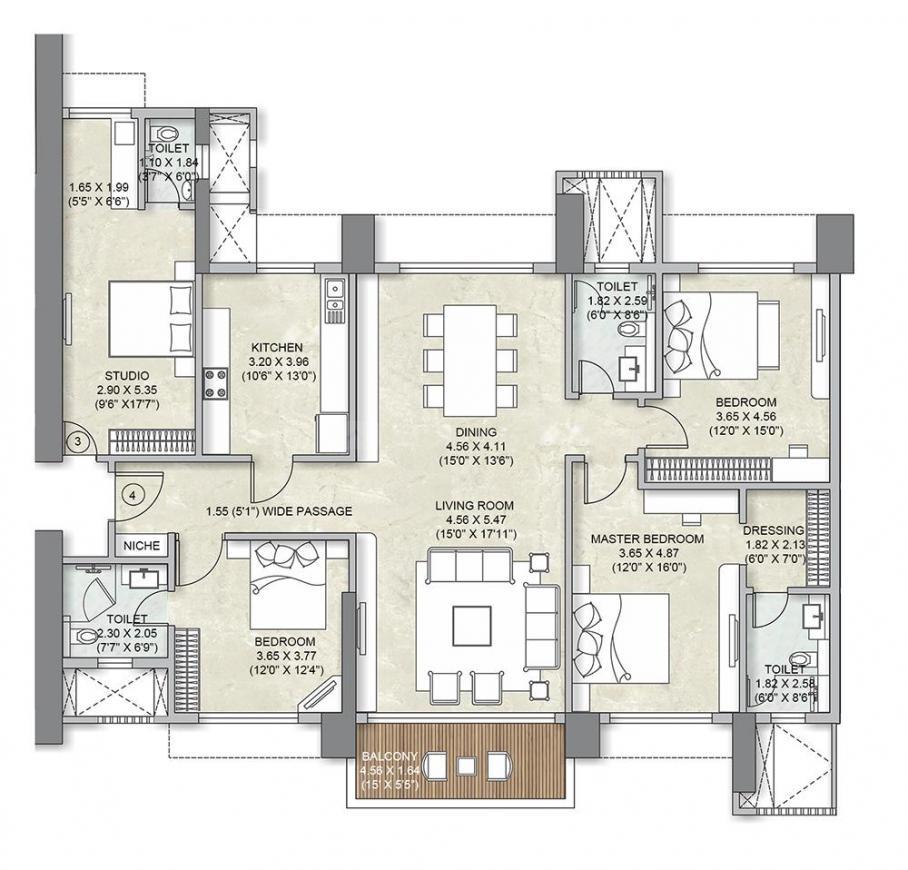 Kalpataru Avana Floor Plan: 3 BHK Unit with Built up area of 1846 sq.ft 1