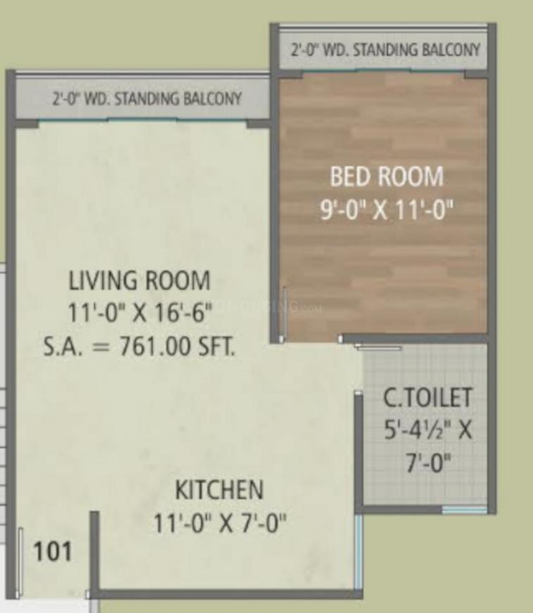 Orchid Infinity Floor Plan: 1 BHK Unit with Built up area of 761 sq.ft 1