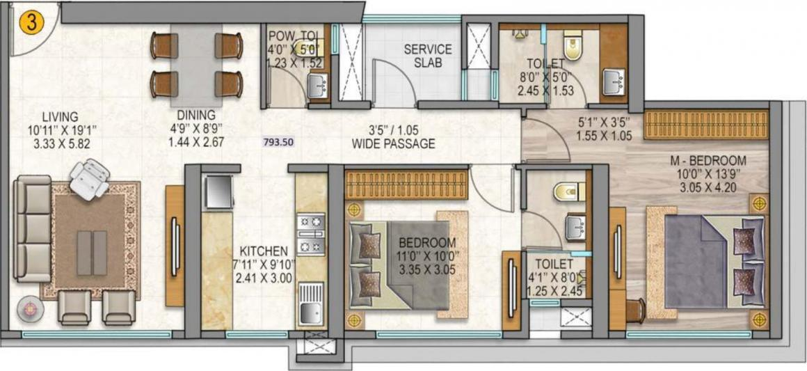 Sheth Auris Serenity Tower 3 Floor Plan: 2 BHK Unit with Built up area of 794 sq.ft 1