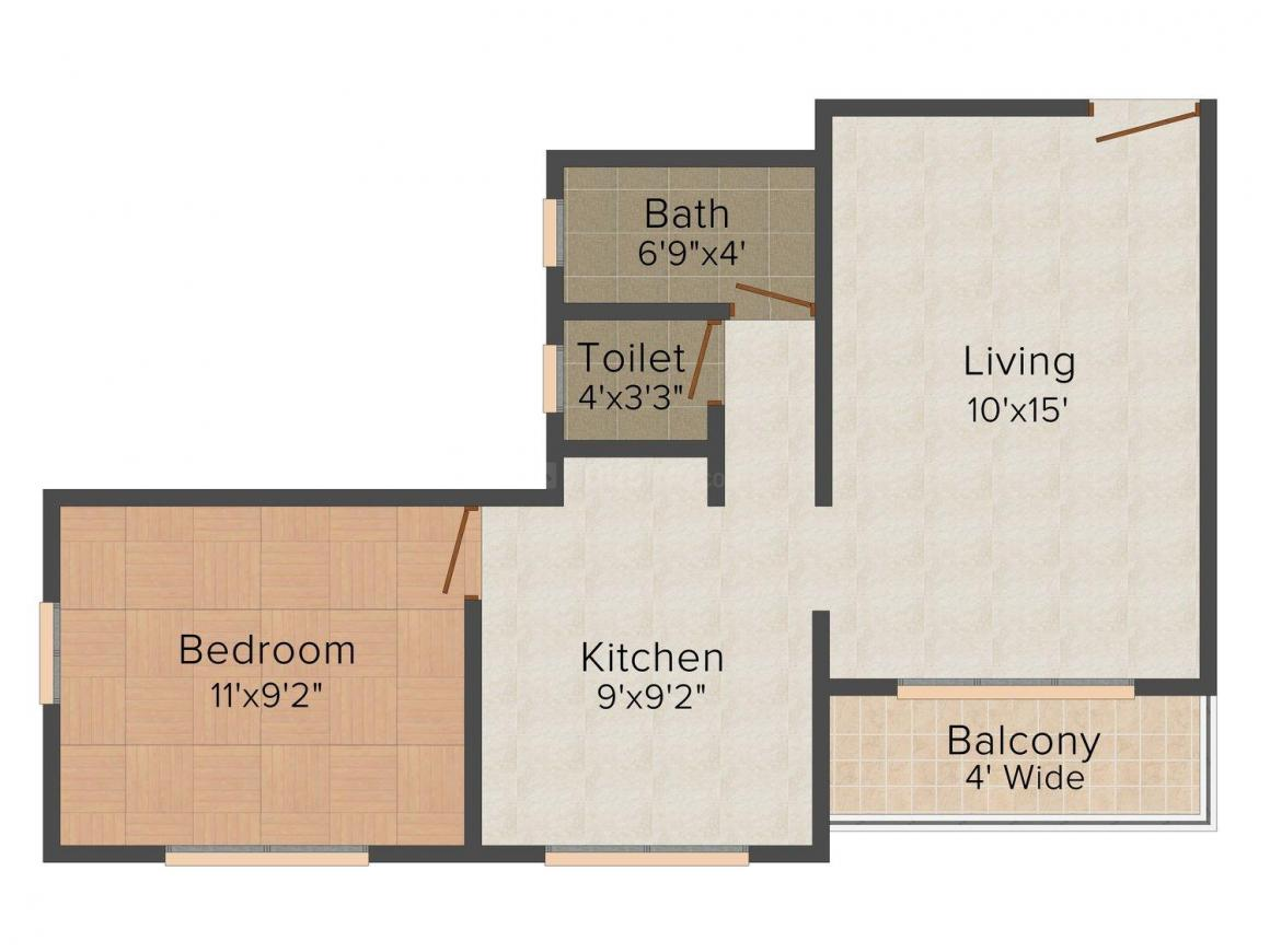 Floor Plan Image of 442 - 626 Sq.ft 1 BHK Apartment for buy in K.B. Rohamare Manomay Dream Home