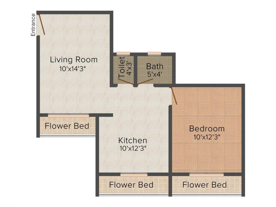 Floor Plan Image of 720 - 1410 Sq.ft 1 BHK Apartment for buy in Happy Home Sarvodaya Enclave