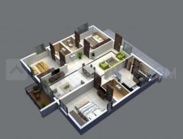 Bricks Skywoods Floor Plan: 3 BHK Unit with Built up area of 1726 sq.ft 1