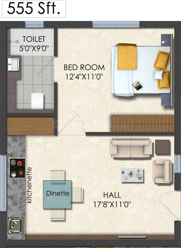 Dukes and Shantha Dukes Galaxy Floor Plan: 1 BHK Unit with Built up area of 555 sq.ft 1