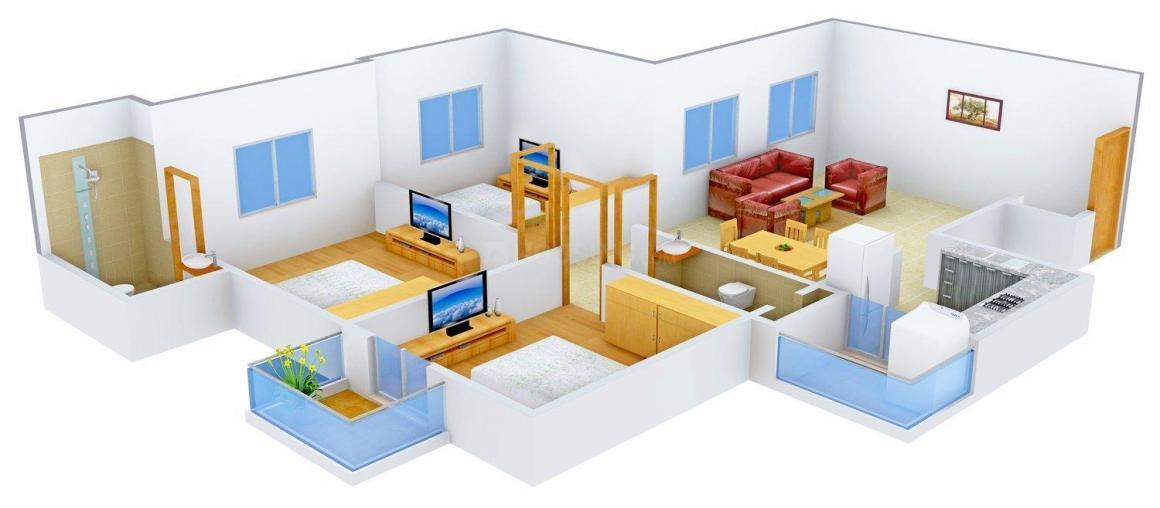 Sai Upvan Floor Plan: 3 BHK Unit with Built up area of 630 sq.ft 1