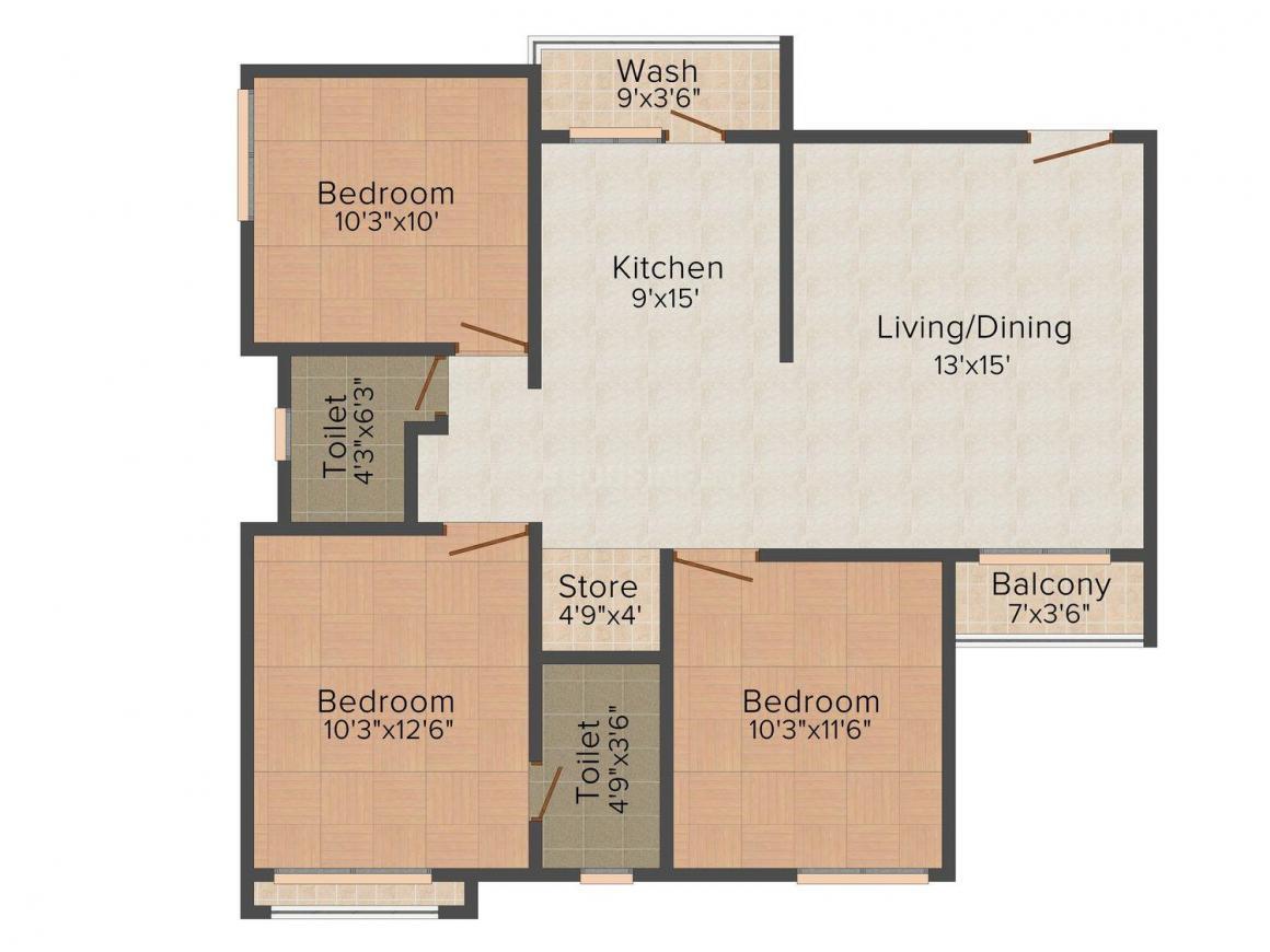 Floor Plan Image of 0 - 950 Sq.ft 3 BHK Apartment for buy in Mangalmurti Vinayak Heights