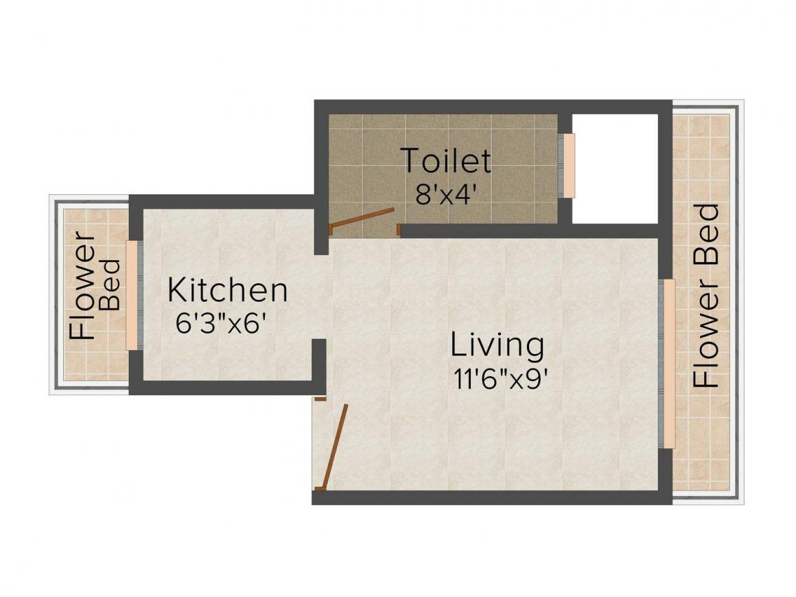 Floor Plan Image of 390.0 - 410.0 Sq.ft 1 RK Apartment for buy in Raj Infra Sai Darshan