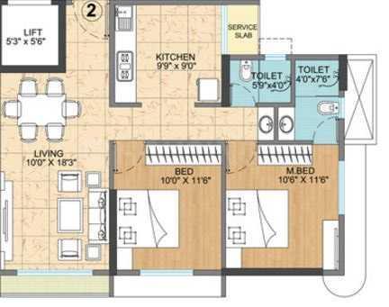 Vijay Vatika Floor Plan: 2 BHK Unit with Built up area of 634 sq.ft 1