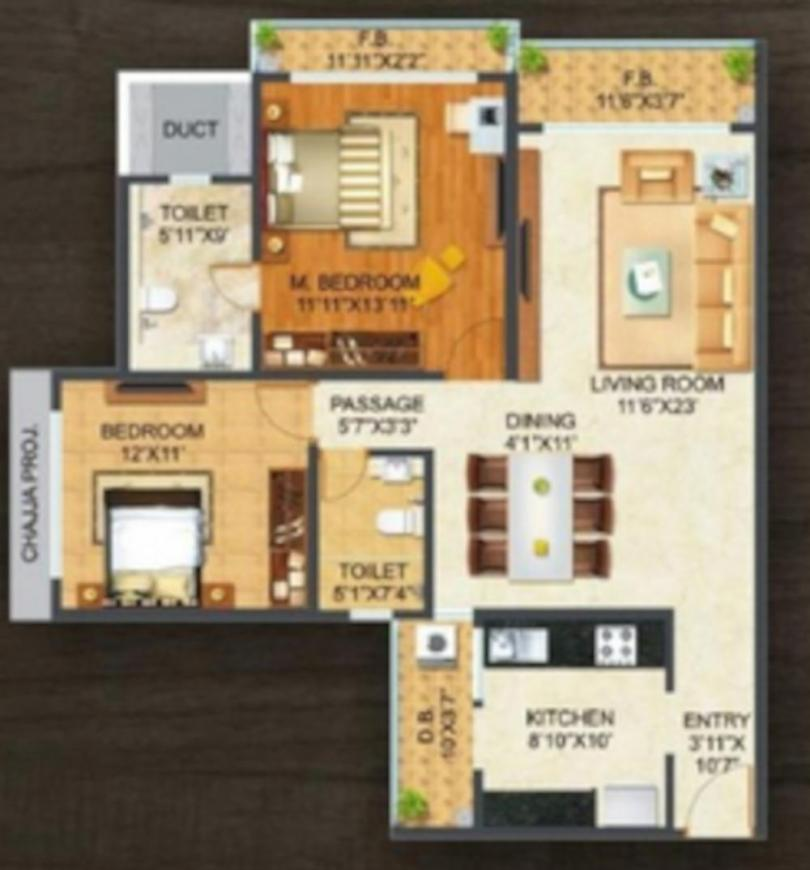 Sonam Indraprasth Floor Plan: 2 BHK Unit with Built up area of 739 sq.ft 1