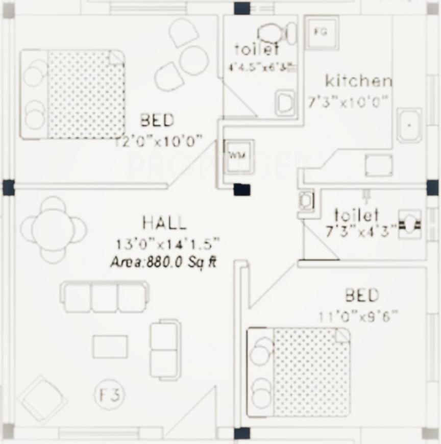Narayani Niwas Floor Plan: 2 BHK Unit with Built up area of 880 sq.ft 1