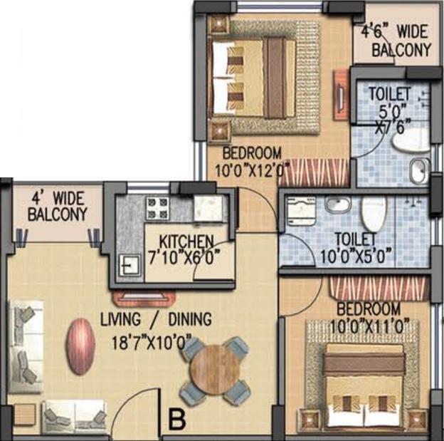 Salarpuria Gardenia Floor Plan: 2 BHK Unit with Built up area of 990 sq.ft 1