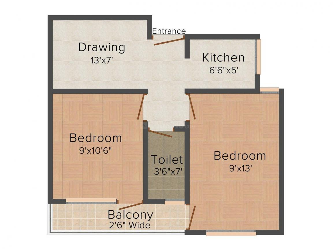 Floor Plan Image of 0 - 563 Sq.ft 2 BHK Independent Floor for buy in Ambe Floors - I