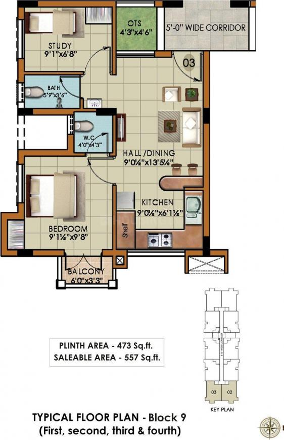 Rajparis Crystal Spring Floor Plan: 2 BHK Unit with Built up area of 557 sq.ft 1