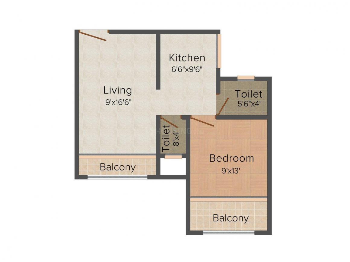 Floor Plan Image of 555 - 770 Sq.ft 1 BHK Apartment for buy in Soham Gardens