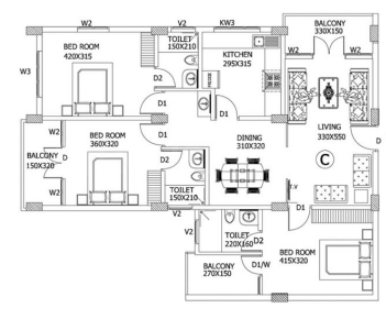 GD Palace 10 Apartments Floor Plan: 3 BHK Unit with Built up area of 1470 sq.ft 1
